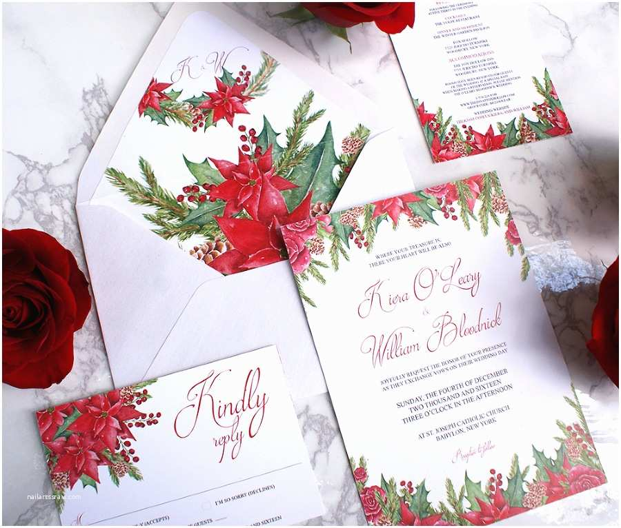 Christmas themed Wedding Invitations Christmas themed Watercolor Wedding Invitations Bohemian
