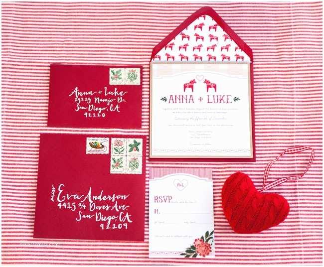Christmas themed Wedding Invitations Christmas Wedding Invitations Red Wedding Stationery