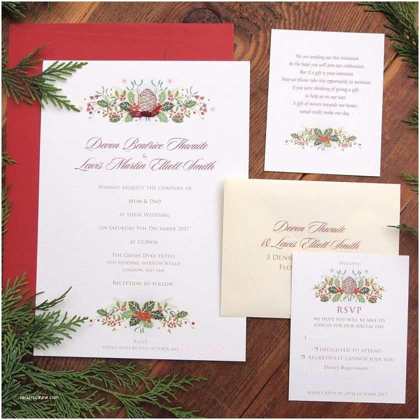 Christmas themed Wedding Invitations Holly Berries – Christmas themed Wedding Stationery