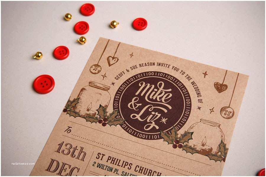 Christmas themed Wedding Invitations Wedding Invitation Two Parts Christmas themeto and From