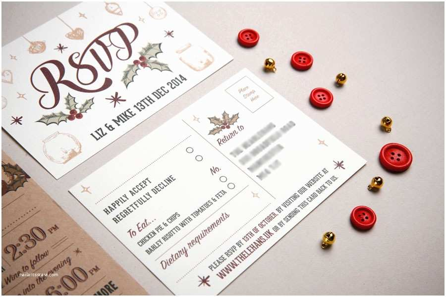 Christmas themed Wedding Invitations Wedding Invitation Two Parts Christmas themeto and From