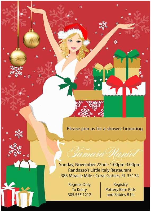 Christmas themed Wedding Shower Invitations Christmas Baby Shower Invitation Printable Holiday Baby