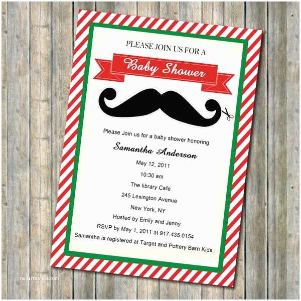 Christmas themed Wedding Shower Invitations Christmas themed Red and Green Mustache Baby Shower