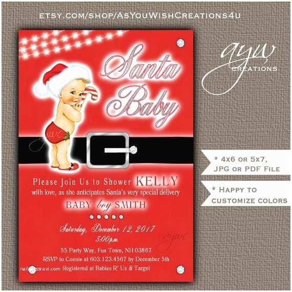 Christmas themed Wedding Shower Invitations Santa Baby Shower Invitation Boy Christmas themed Baby