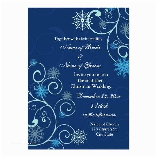 "Christmas Wedding Invitations Blue Swirls Christmas Wedding Invitation Cards 5"" X 7"