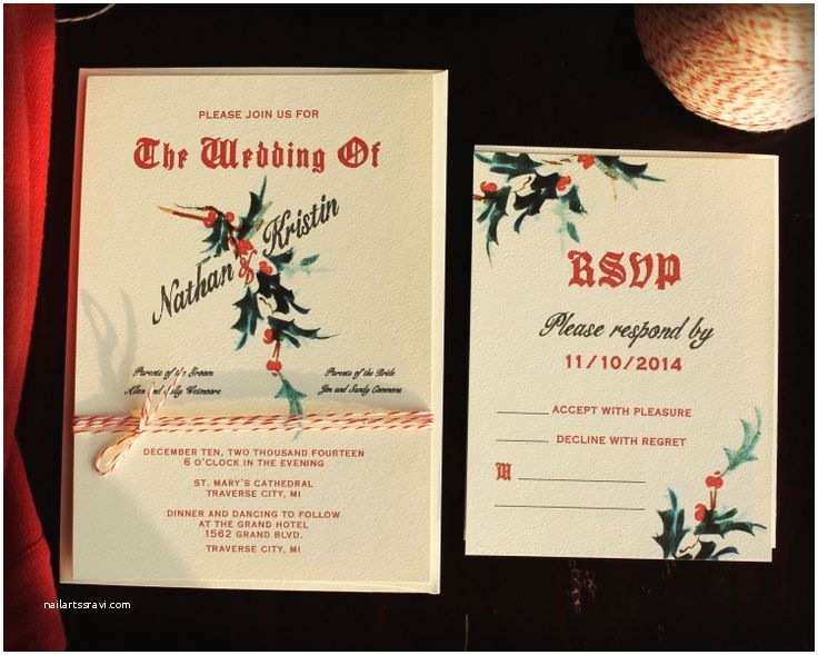 Christmas Wedding Invitations Holiday Wedding Program Vintage Holiday Wedding Invitation