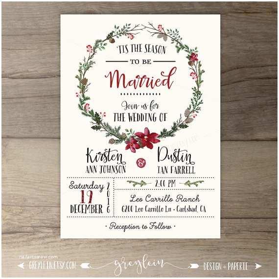 Christmas Wedding Invitations Winter Wedding Invitations Wreath Tis the Season to