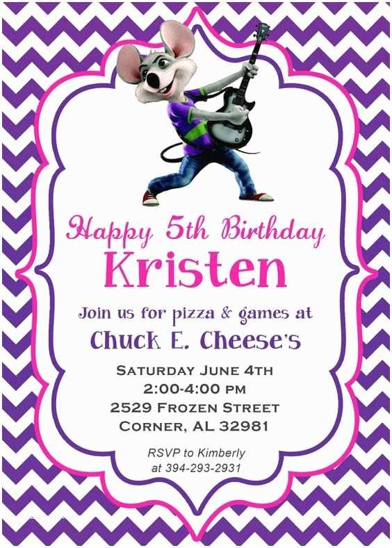 Chuck E Cheese Birthday Invitations Chevron Chuck E Cheese Birthday Party Invitation by