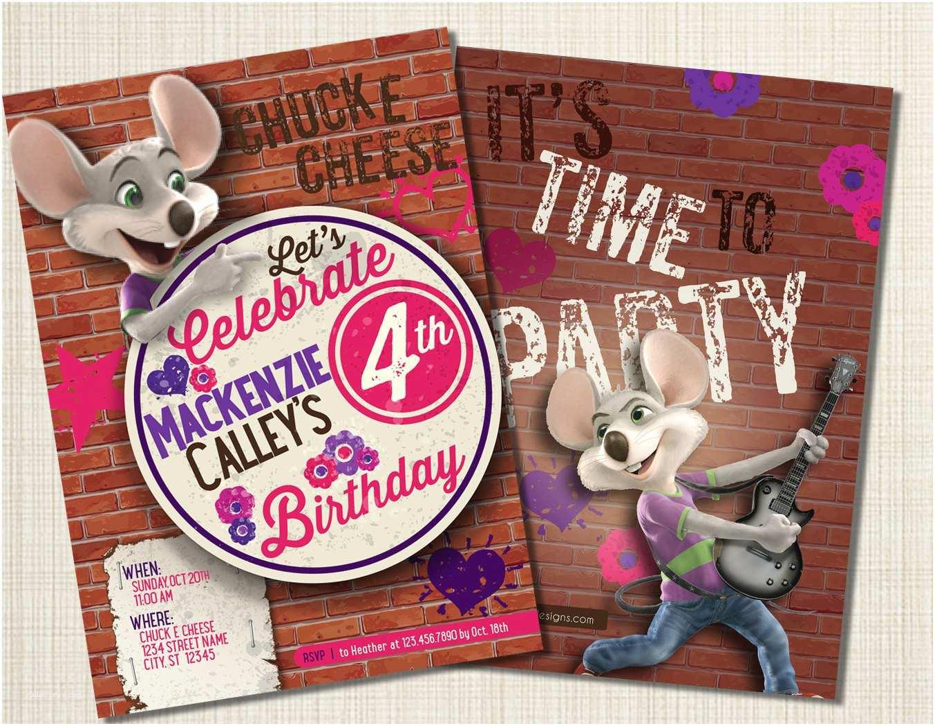 Chuck E Cheese Birthday Invitations Chuck E Cheese Birthday Invitation Girlie by Graphicalleyyours