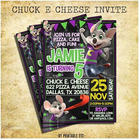 Chuck E Cheese Birthday Invitations Chuck E Cheese Invitation Chuck E Cheese Chalkboard Birthday