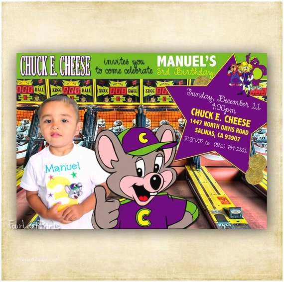 Chuck E Cheese Birthday Invitations Items Similar to Chuck E Cheese Birthday