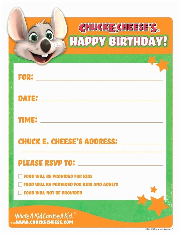 Chuck E Cheese Birthday Invitations Printable Birthday Invitations