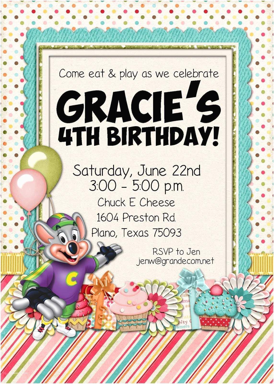 Chuck E Cheese Birthday Invitations Slightly askew Designs Chuck E Cheese Party