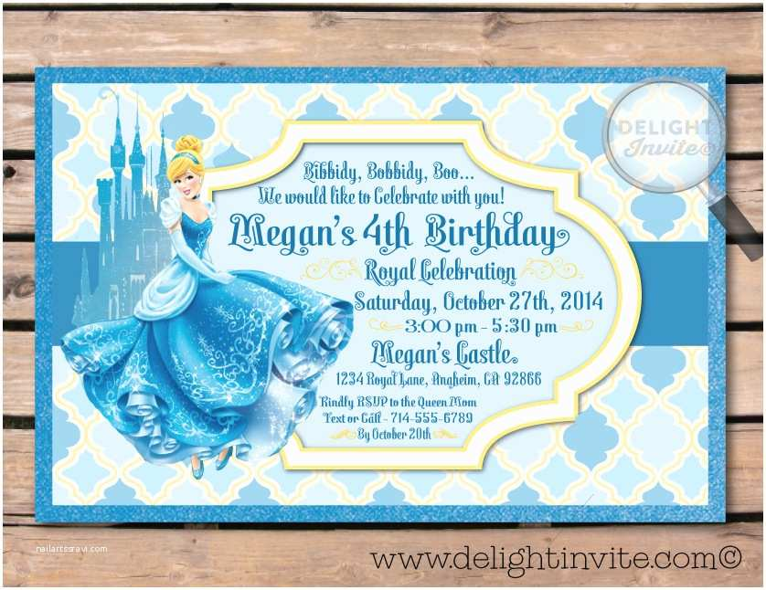 Cinderella Birthday Invitations Cinderella Princess Birthday Invitation [di 290] Custom