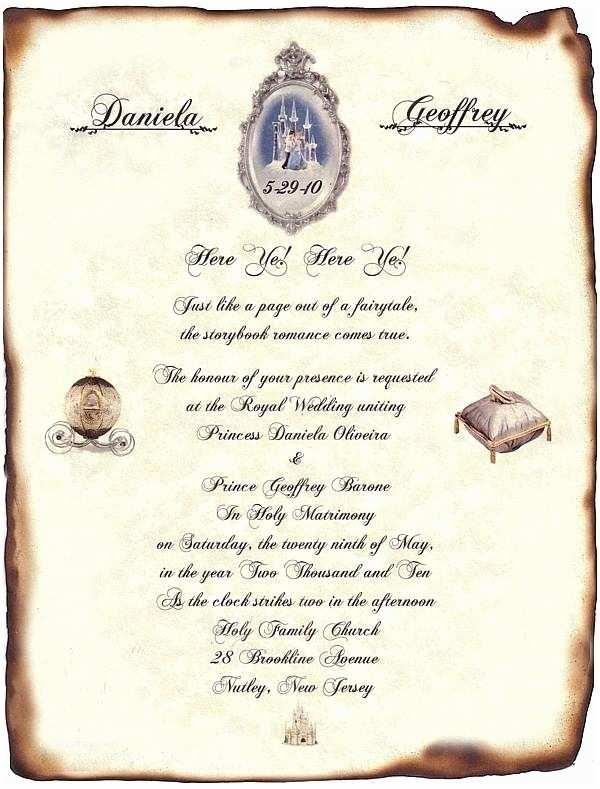 Cinderella Wedding Invitations Qty 50 Fairytale Castle Cinderella Wedding Scroll