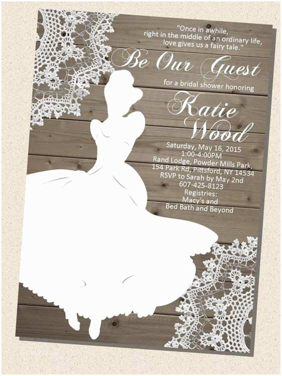 Cinderella Wedding Invitations Rustic Wooden Vintage Disney Princess Cinderella