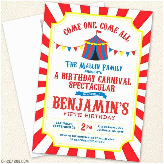 Circus Birthday Invitations Carnival or Circus Party Invitations