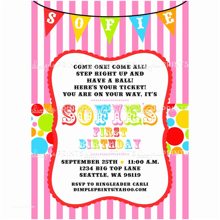Circus Birthday Invitations Carnival Printable Invite Dimple Prints Shop