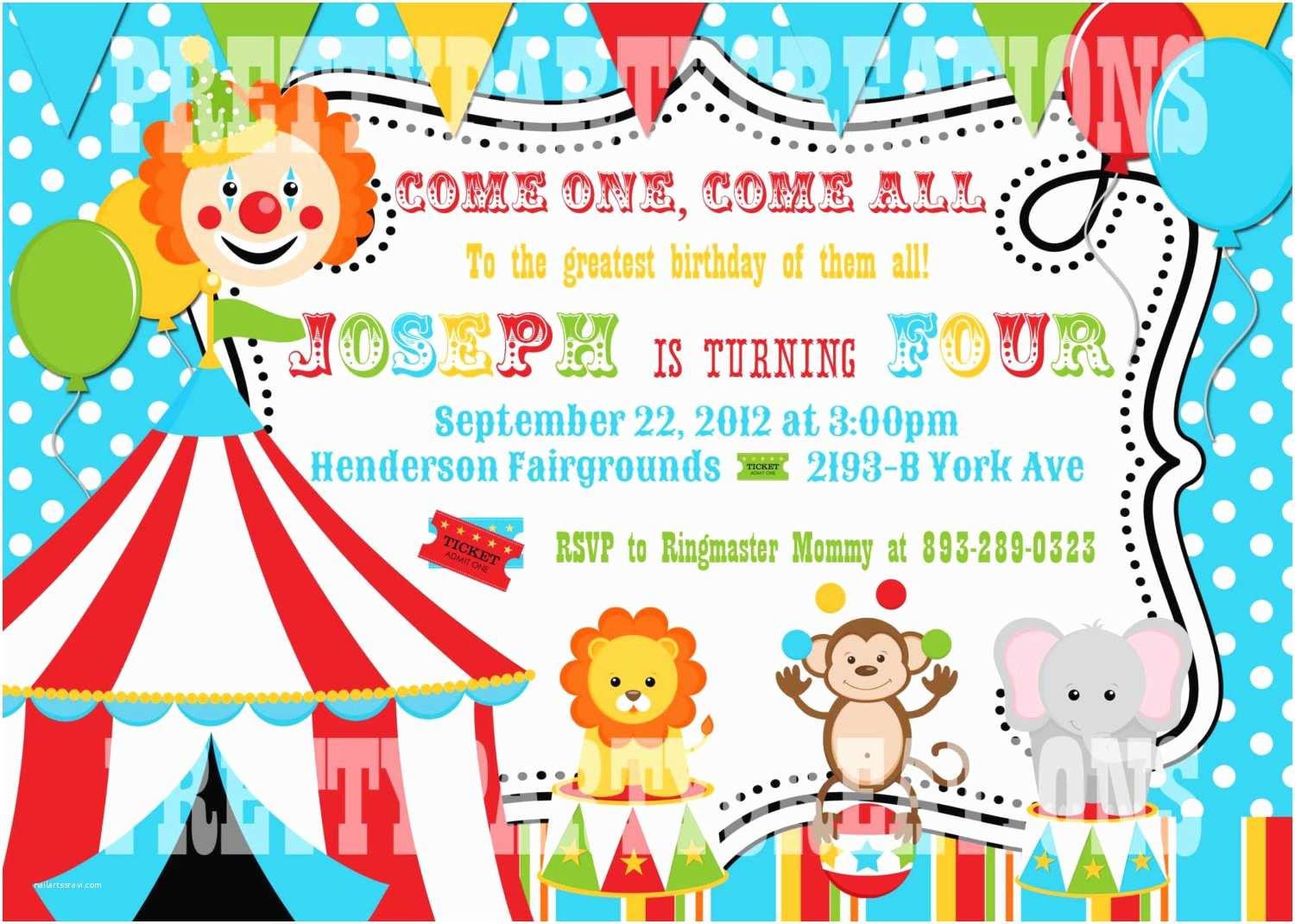 Circus Birthday Invitations Colorful Circus Birthday Invitation You Print Digital File