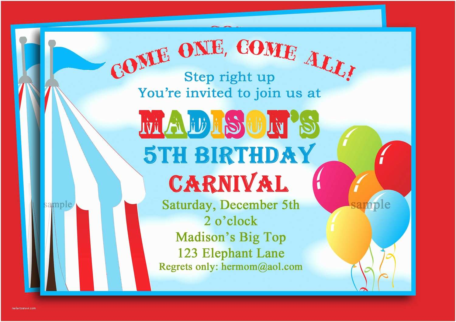 picture relating to Printable Carnival Birthday Invitations titled Circus Birthday Invites Carnival Bash Invites
