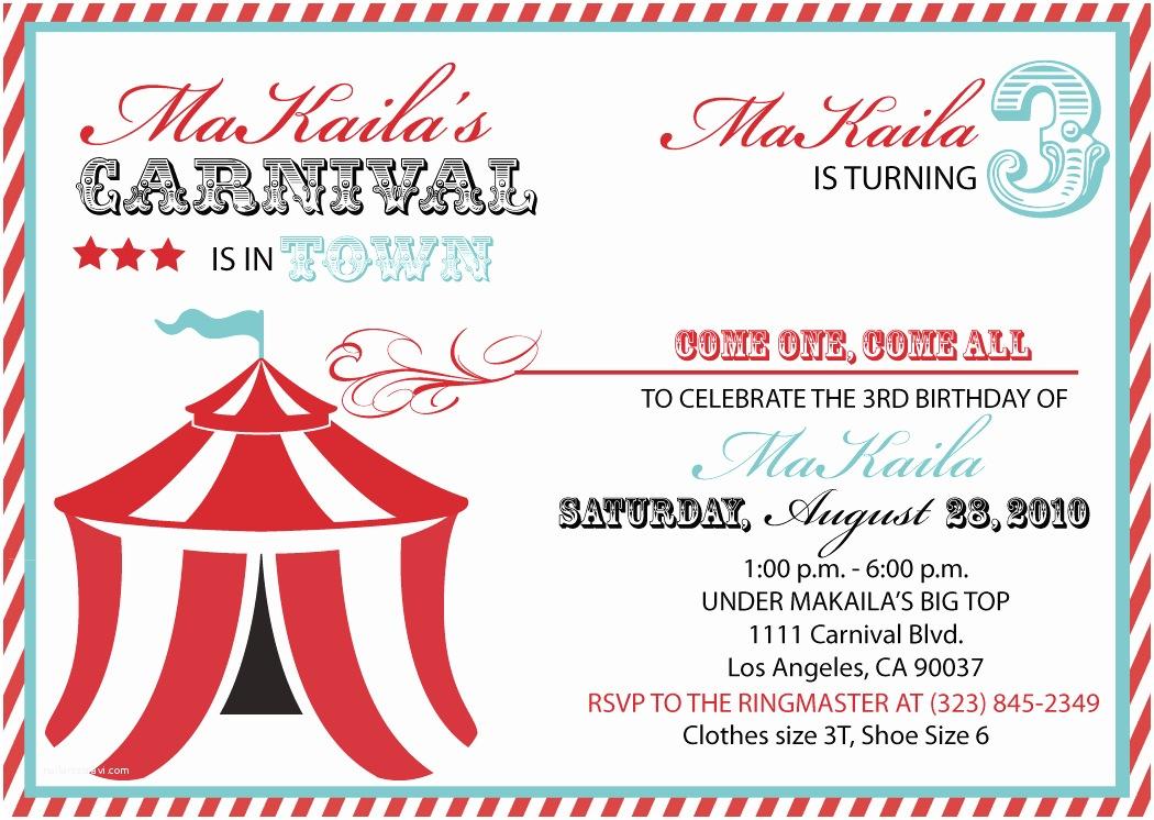 Circus Party Invitations 40th Birthday Ideas Carnival Birthday Invitation Template