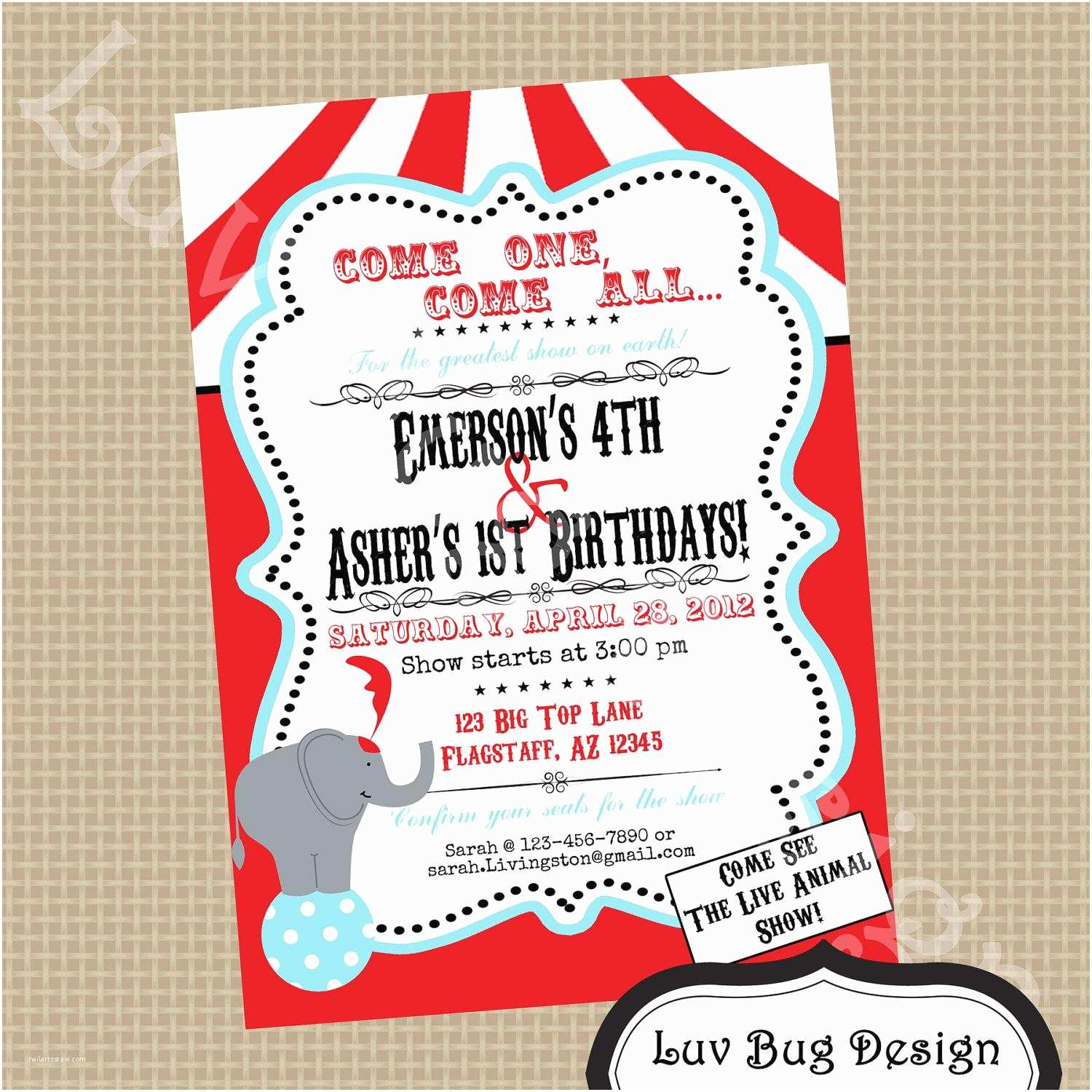 Circus Party Invitations Carnival Party Invitations Free