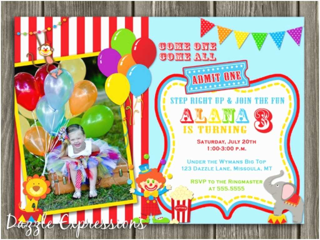 Circus Party Invitations Circus 1st Birthday Invitations