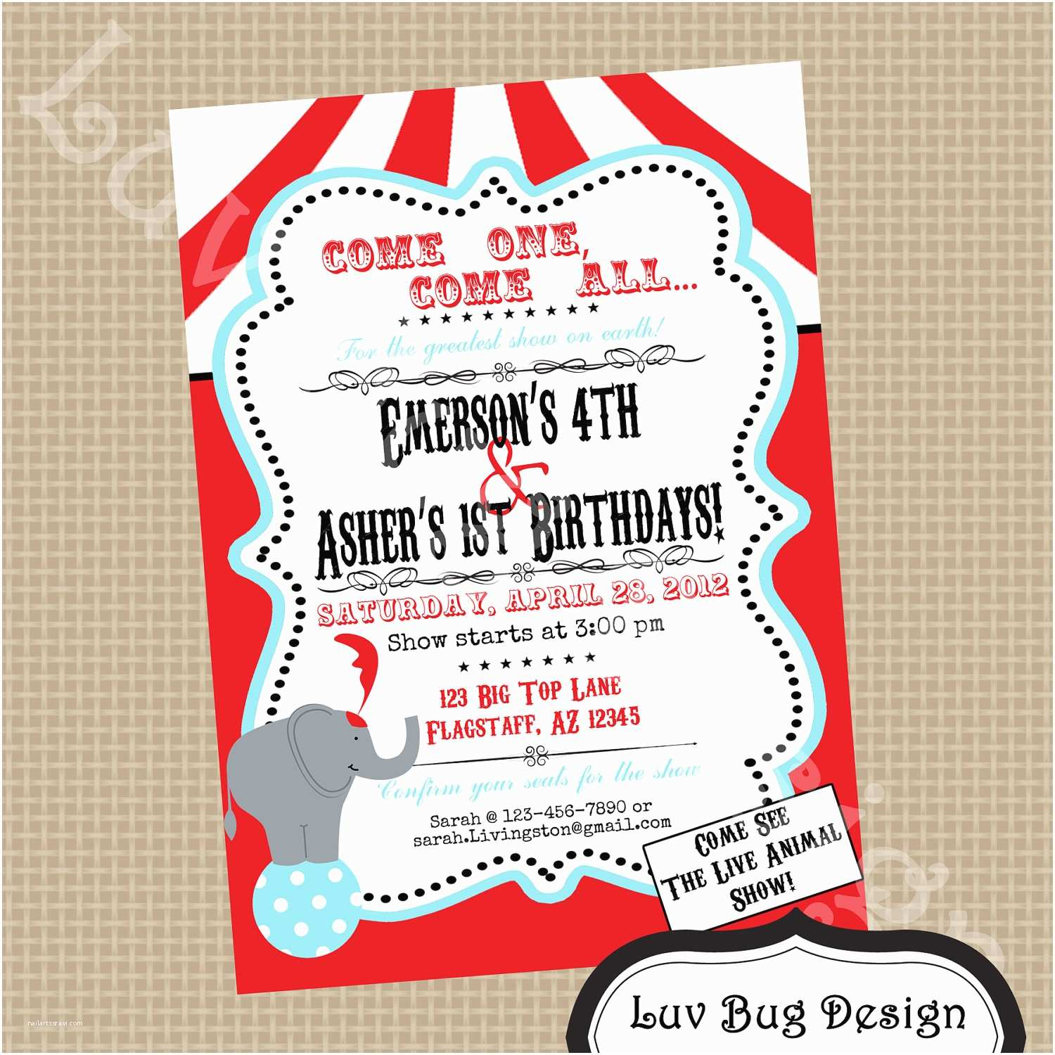 Circus Party Invitations Circus Birthday Party Invitation Printable Invites by