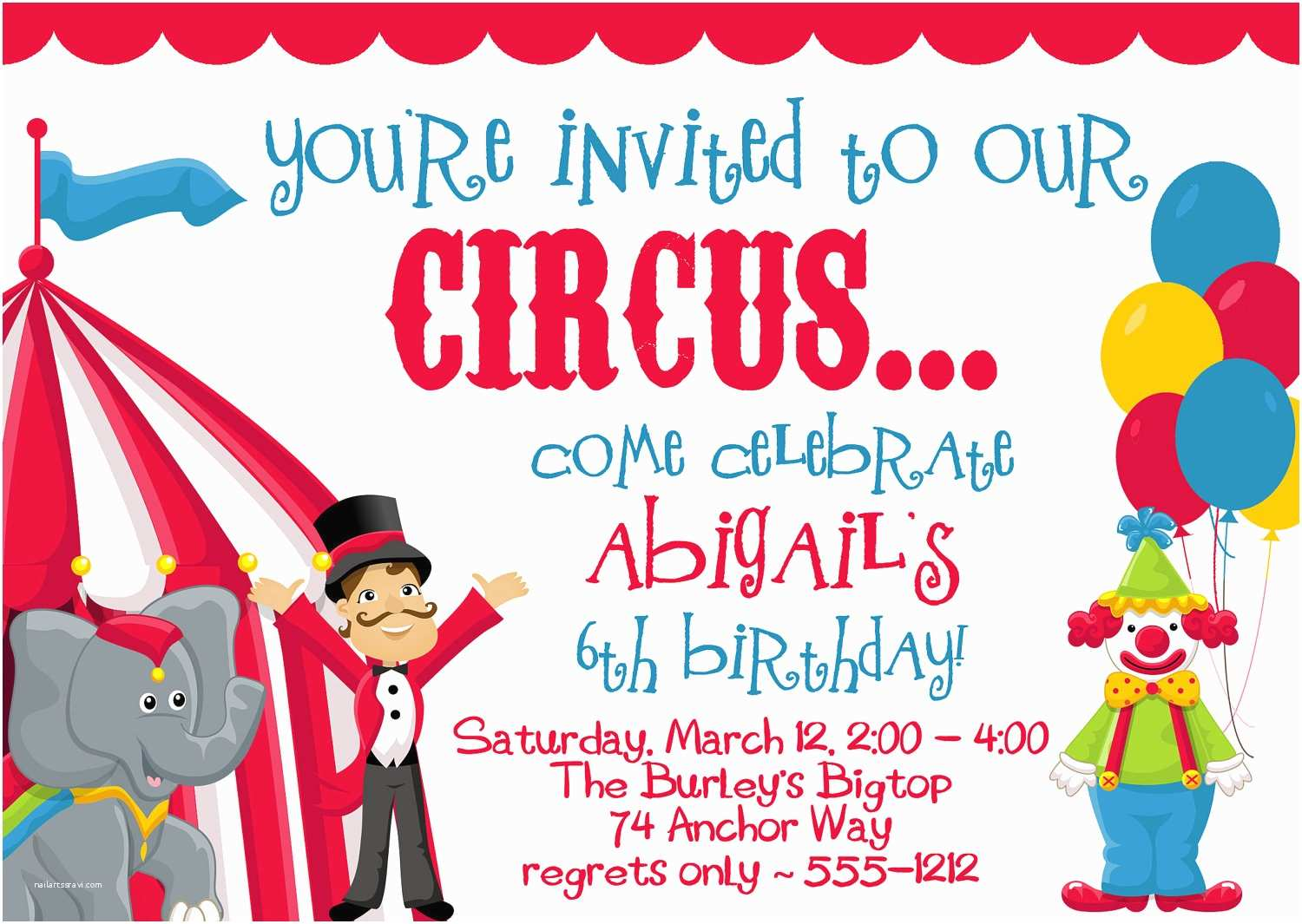 Circus Party Invitations Circus Carnival Birthday Party Invitations by