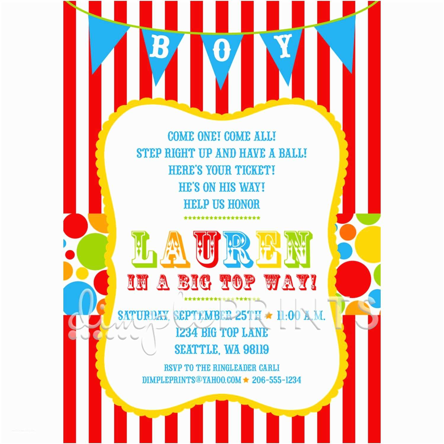 Circus Party Invitations Circus Carnival Shower Invitation Dimple Prints Shop