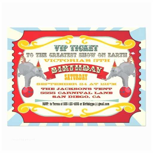 Circus Party Invitations Circus or Carnival Ticket Birthday Invitation