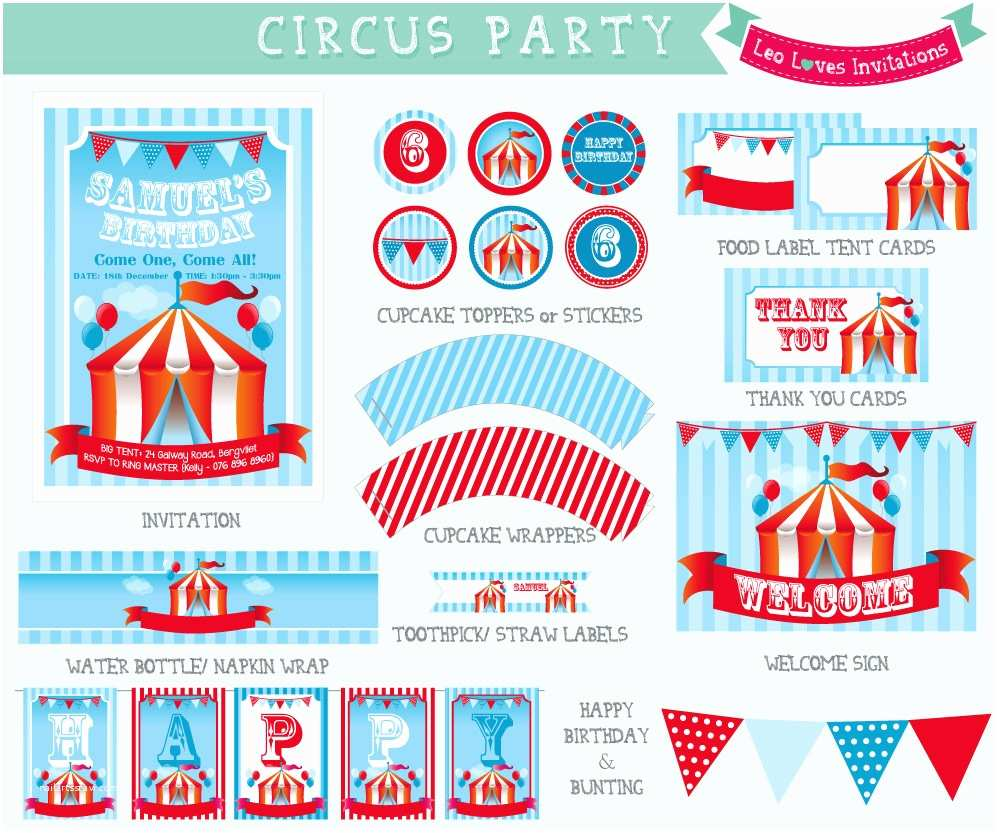 Circus Party Invitations Circus Party Printable