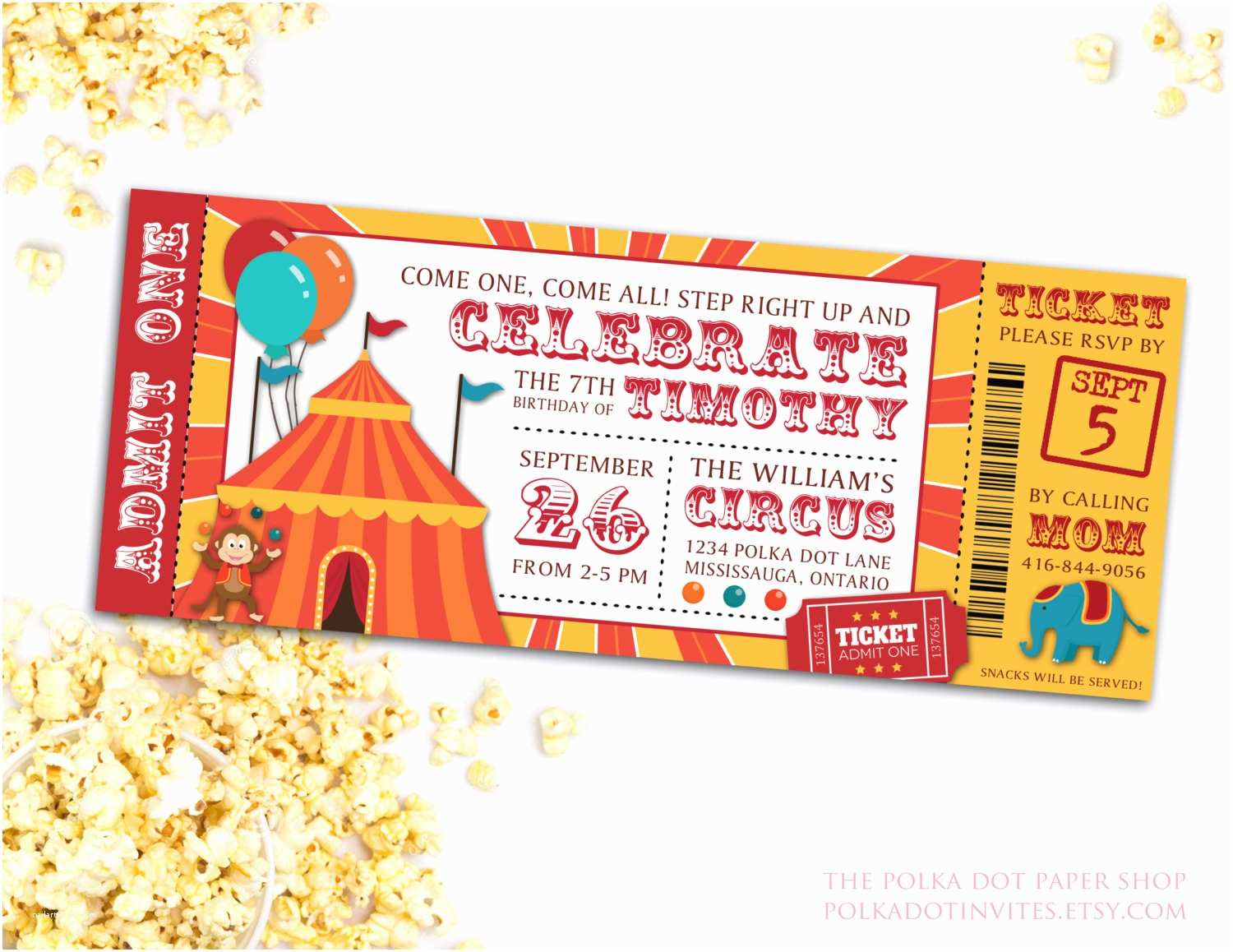 Circus Party Invitations Circus Party Ticket Invitation Birthday Party Invitation