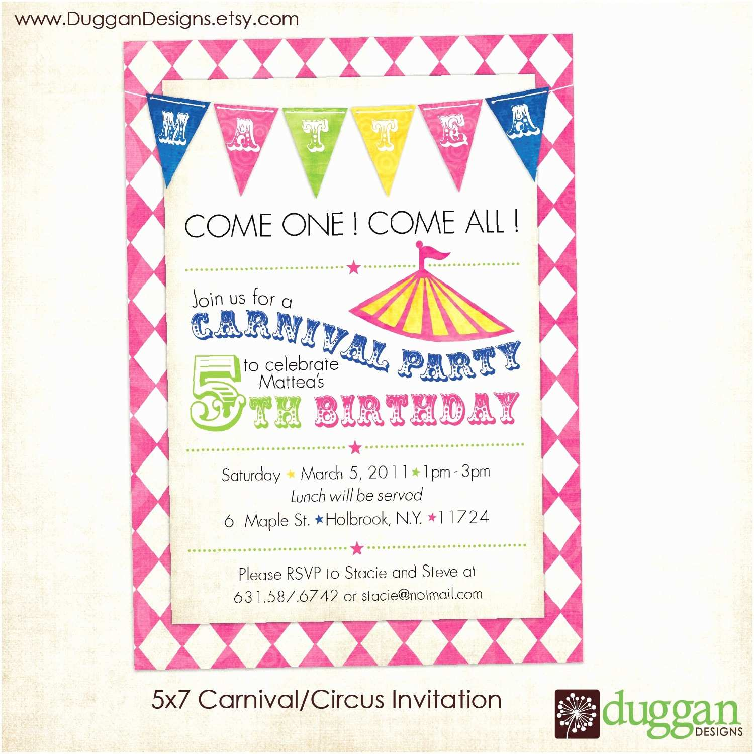 Circus Party Invitations Printable Circus or Carnival Birthday Invitation by