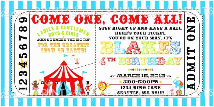 Circus Party Invitations Vintage Circus Ticket Birthday Invitation Dimple Prints Shop