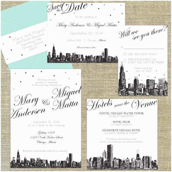 Cityscape Wedding Invitations Chicago Skyline Destination Wedding Invitation Sample Only