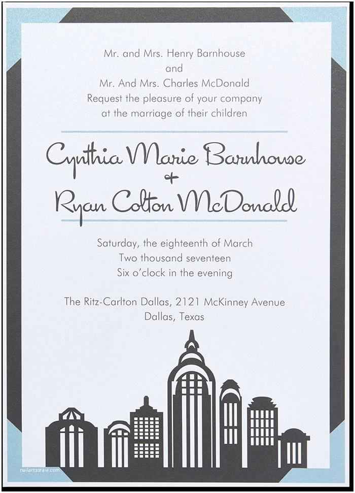 Cityscape Wedding Invitations Cityscape Invitation Ivory isle Designs
