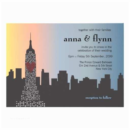 "Cityscape Wedding Invitations New York City Skyline Cityscape Wedding Invitation 5"" X 7"