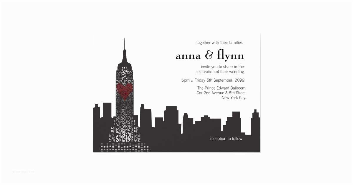 Cityscape Wedding Invitations New York City Skyline Cityscape Wedding Invitation