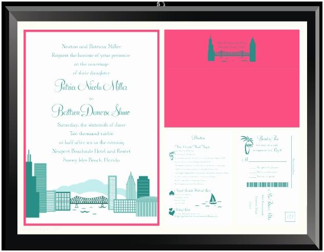 Cityscape Wedding Invitations Patrice & Berttron Cityscape Wedding Invitation Suite
