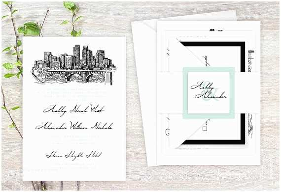 Cityscape Wedding Invitations Sample Wedding Invitation Suite Hand Drawn Minneapolis