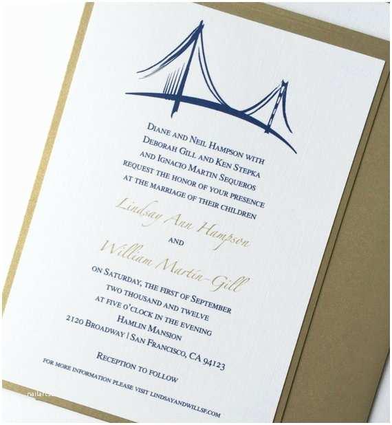 Cityscape Wedding Invitations San Francisco Golden Gate Bridge Wedding Invitation