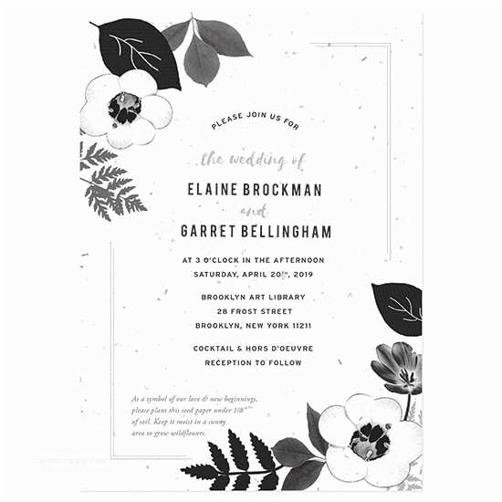 Classic Black and White Wedding Invitations Black & White Blooms Plantable Wedding Invitation
