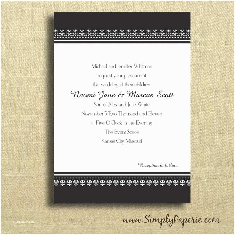 Classic Black and White Wedding Invitations Black and White Classic Wedding Invitations Simply Paperie