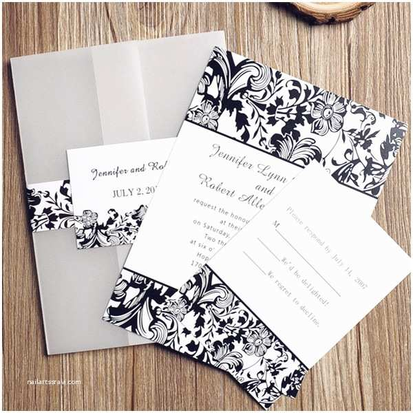 Classic Black and White Wedding Invitations Black and White Vintage Damask Pocket Wedding Invitations