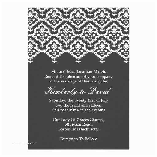 "Classic Black and White Wedding Invitations Black and White Vintage Damask Wedding Invitation 5"" X 7"