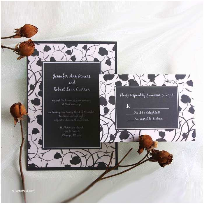 Classic Black and White Wedding Invitations Black and White Vintage Floral Online Wedding Invitation