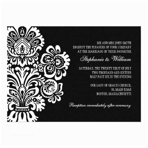 "Classic Black and White Wedding Invitations Black and White Vintage Floral Wedding Invitation 5"" X 7"