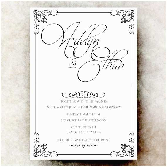 Classic Black and White Wedding Invitations Black White Wedding Invitation Simple Wedding Vintage