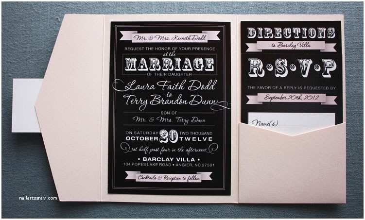Classic Black and White Wedding Invitations Blush Pink & Black Vintage Steampunk Poster Style